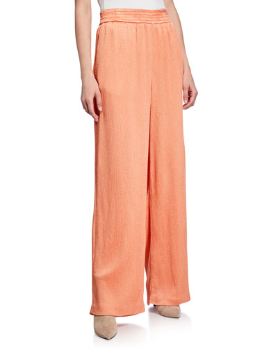 Hammered Satin Smocked Wide-Leg Track Pants