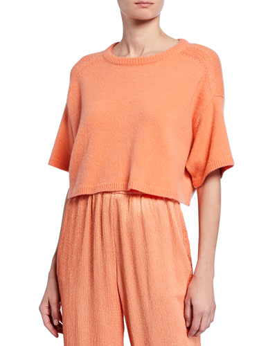 Round-Neck Boxy Elbow-Sleeve Cropped Sweater