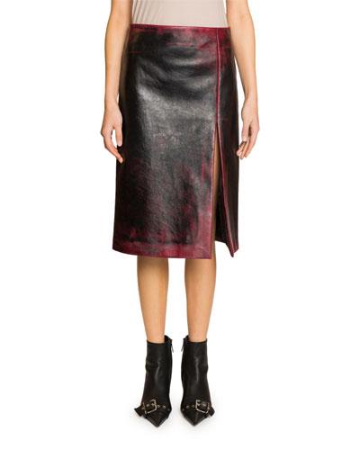 High-Slit Grainy Leather Skirt