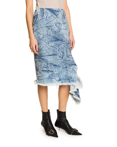 Acid-Washed Asymmetric Midi Jean Skirt