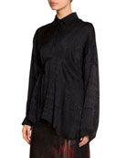 Balenciaga Jacquard Fluid Silk Button-Front Asymmetric Top