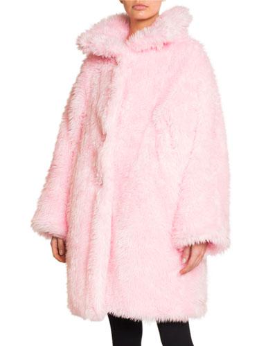 Oversized Fluffy Faux-Fur Swing Coat