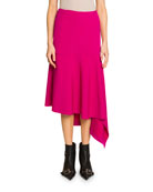 Balenciaga Godet Draped Cavalry Twill Skirt