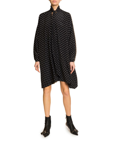 Long-Sleeve Scarf Neck Silk-Crepe Dress