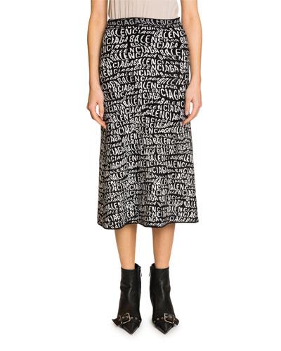 Logo-Knit Velvet Wave Midi Skirt