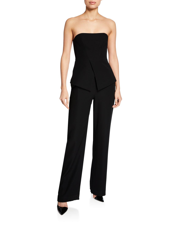 Armani Collezioni Emporio Armani Strapless Peplum Jumpsuit In Black