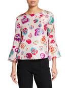 Emporio Armani Multi-Floral Flounce Sleeve Blouse