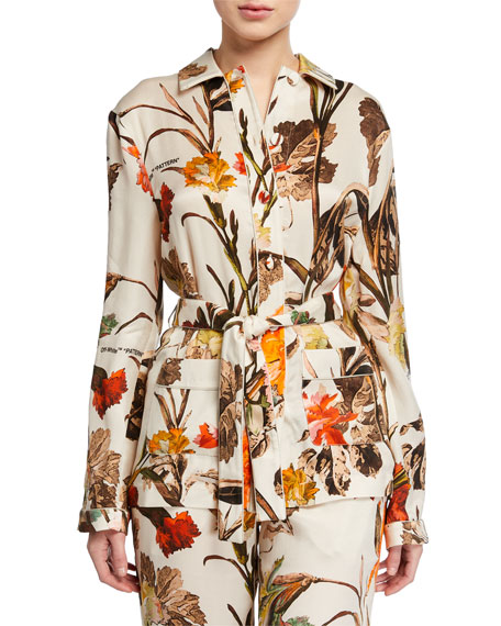 Off-White Floral Pajama Shirt