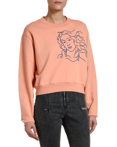 Long-Sleeve Cropped Crewneck Sweatshirt