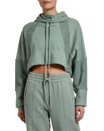 Collegiate Terry-Panel Crop Hoodie