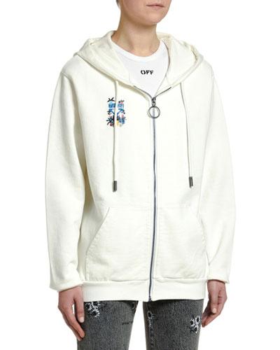 Arrow Graphic Zip-Front Sweatshirt