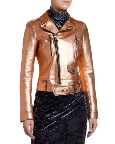 Copper Leather Biker Jacket