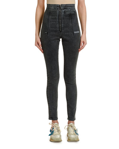Ring-Zip High-rise Skinny Jeans