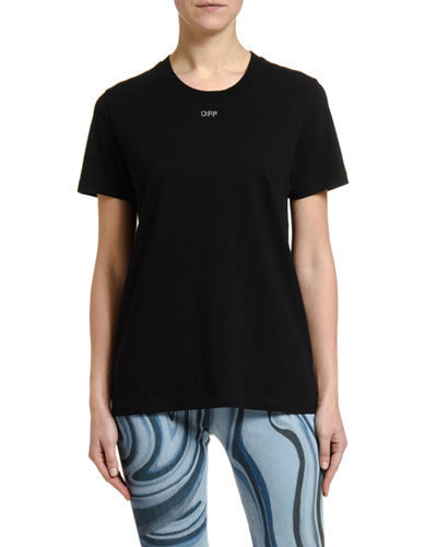 Short-Sleeve Shifted  Casual Tee, Black