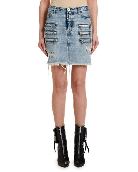 UNRAVEL Bleached Denim Zip-Front Skirt