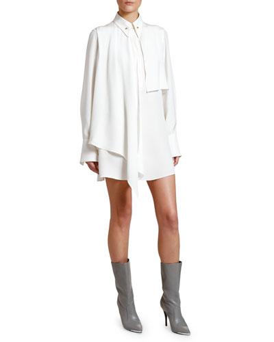 Scarf-Neck Long-Sleeve Mini Shirtdress