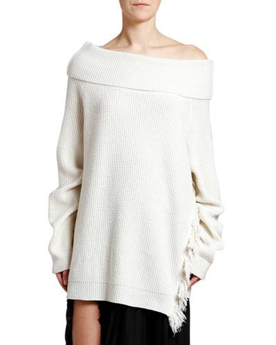 Off-the-Shoulder Frayed Side Sweater
