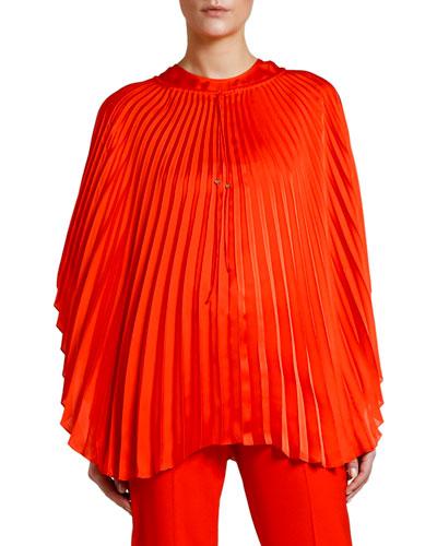 Pleated Cape-Sleeve Top