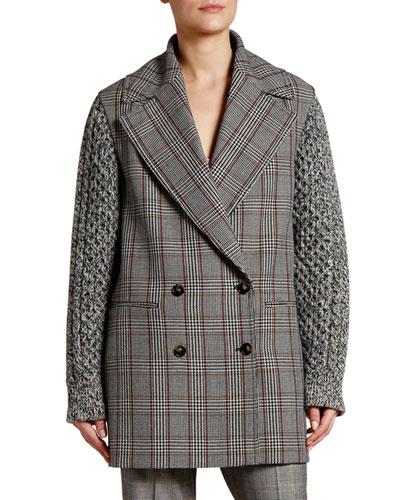 Plaid Knit-Sleeve Oversized Pea Coat