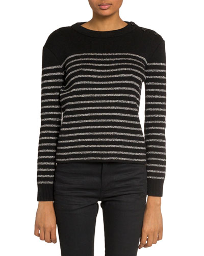 Shimmer-Striped Crewneck Sweater