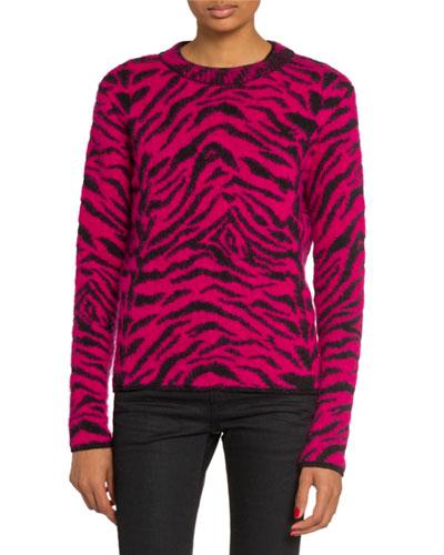 Crewneck Zebra Print Fuzzy-Wool Sweater