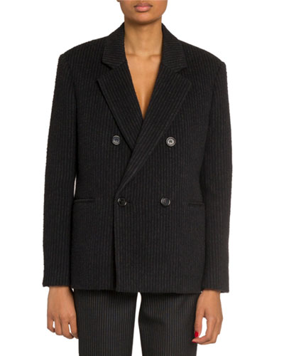 Striped Double-Breasted Blazer Jacket