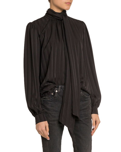 Stripe-Jacquard Tie-Neck Silk Blouse