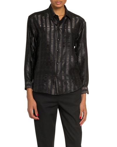 Metallic Stripe Long-Sleeve Button-Down Blouse