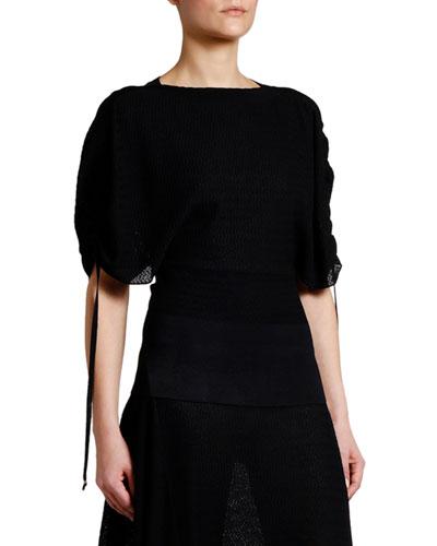 Intarsia Knit Tie-Sleeve Blouse