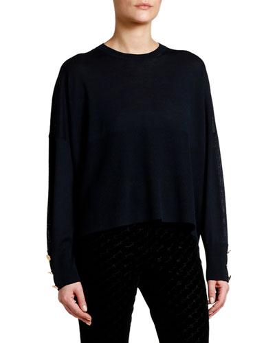 Button-Sleeve Wool-Silk Sweater