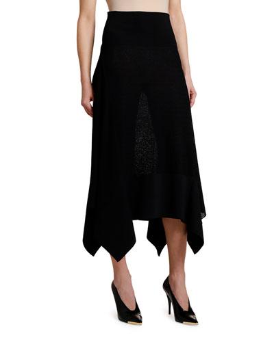 Intarsia Knit Flange Side Skirt