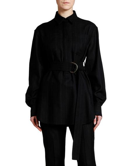 Stella McCartney Belted Pinstriped Crepe Tunic