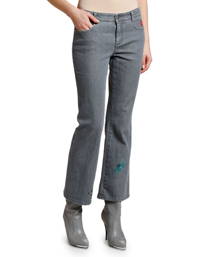 Insects Embroidered Cropped Flare Jeans