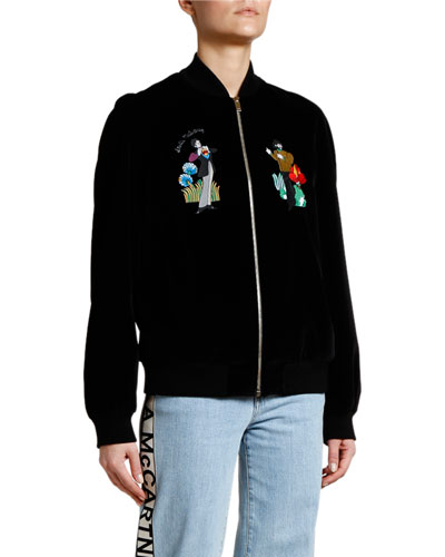 Yellow Submarine Velvet Bomber Jacket with Beatles Decals
