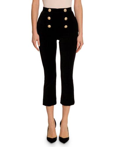 Velvet 6-Button Crop Flare Pants