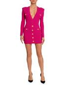 Balmain Button-Trim Long-Sleeve Fitted Mini Dress