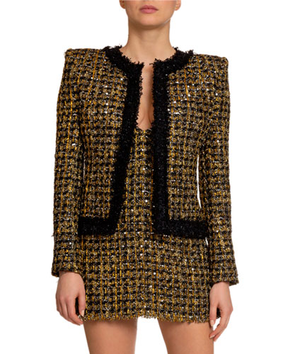 Metallic Tweed Open-Front Jacket