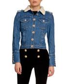 Balmain Raw Denim Jacket w/ Faux-Shearling Collar and