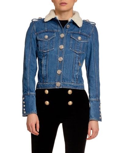 Raw Denim Jacket w/ Wool Collar