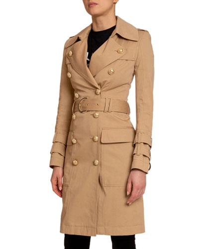 Cotton Gabardine Belted Trench Coat