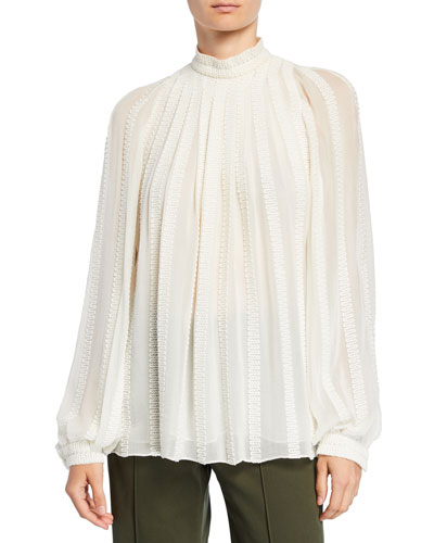Long-Sleeve Embroidered Gauze Trapeze Blouse