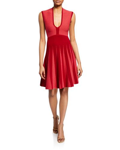 Pleated Knit Jacquard Cocktail Dress