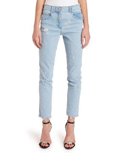 Washed Slim-Fit Distressed Jeans