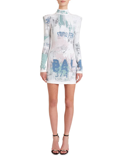 Mock-Neck Long-Sleeve  Graffiti Jacquard Dress