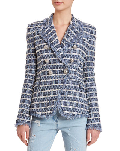 6-Button Frayed Tweed Blazer Jacket