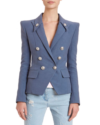 6-Button Peak-Lapel Cotton Blazer Jacket