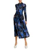 Givenchy Wave-Print Bow-Neck Midi Dress