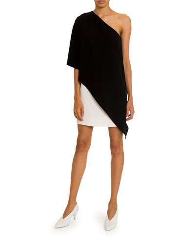 Two-Tone One-Shoulder Cocktail Dress
