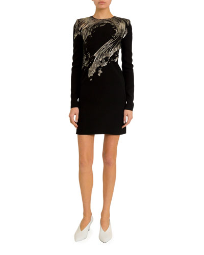 Wave-Embroidered Sequined Mini Dress