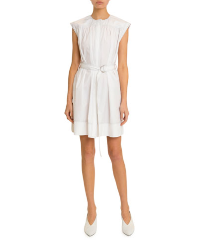 Belted Topstitched Heavy Cotton Dress
